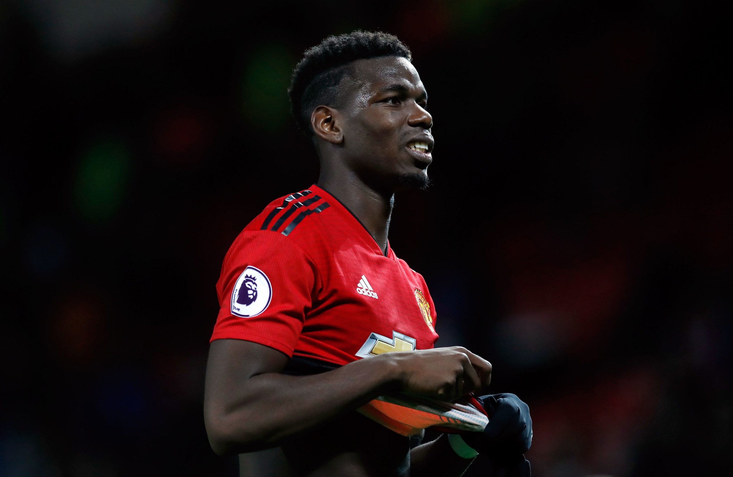 """Manchester United's Paul Pogba after the Premier League match at Old Trafford, Manchester. PRESS ASSOCIATION Photo. Picture date: Sunday October 28, 2018. See PA story SOCCER Man Utd. Photo credit should read: Martin Rickett/PA Wire. RESTRICTIONS: EDITORIAL USE ONLY No use with unauthorised audio, video, data, fixture lists, club/league logos or """"live"""" services. Online in-match use limited to 120 images, no video emulation. No use in betting, games or single club/league/player publications."""