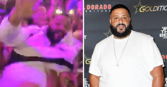 DJ Khaled failed attempt at crowd surfing at Swizz Beatz's son birthday