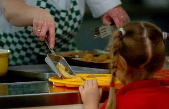 PARENTAL PERMISSION OBTAINED. Generic picture of a meal being served to a pupil at a Primary School in Cambridgeshire.