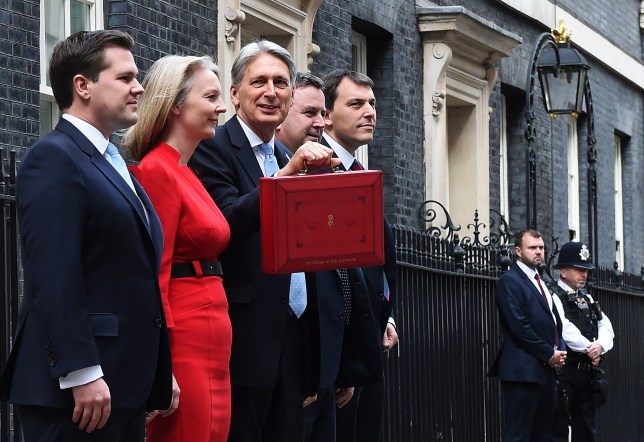 epa07129650 British Chancellor of the Exchequer Philip Hammond (C) and members of the treasury team depart No11 Downing Street on his way to parliament in London, Britain, 29 October 2018. Hammond is set to deliver his Budget statement to MP's (Members of Parliament) at the House of Commons. L-R, Exchequer Secretary to the Treasury, Robert Jenrick, Chief Secretary to the Treasury, Elizabeth Truss, Financial Secretary to the Treasury, Mel Stride and Economic Secretary to the Treasury, John Glen. EPA/ANDY RAIN