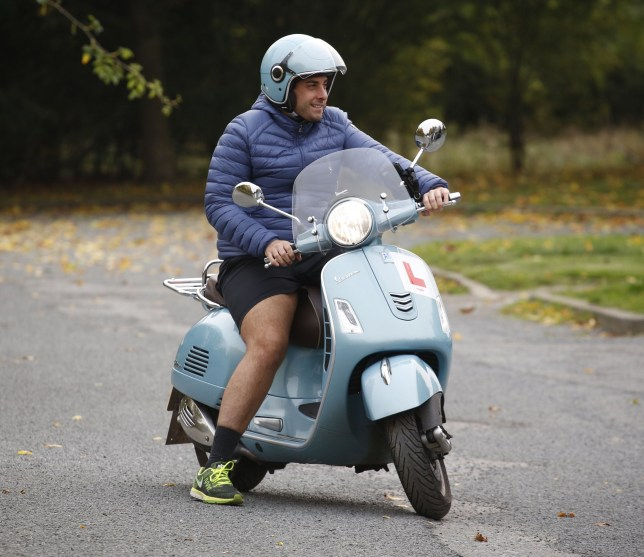 Picture Shows: James Argent, Arg October 16, 2017 'The Only Way Is Essex' star James 'Arg' Argent is seen riding his Vespa through Fairlop Waters on a public footpath after filming in Essex, England. The recently slimmed-down reality television personality was returning from the park alongside co-stars James 'Diags' Bennewith and Dan Edgar. Non Exclusive WORLDWIDE RIGHTS Pictures by : Flynet Pictures ?? 2017 Tel : +44 (0)20 3551 5049 Email : info@flynetpictures.co.uk