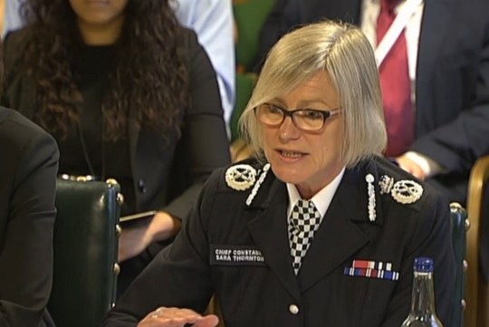 Sara Thornton, chair of the National Police Chiefs' Council, is questioned by the Home Affairs Committee in the Palace of Westminster, London.