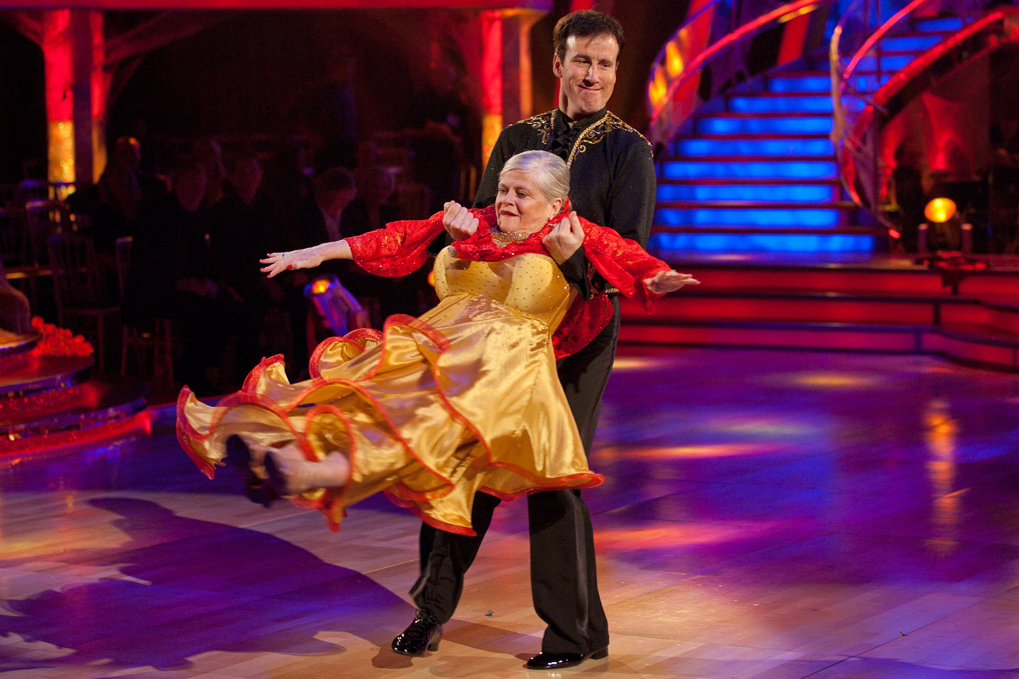 Anton Du Beke hoists Ann Widdecombe in a garish dress last year Television programmes: Strictly Come Dancing The Rt Hon Ann Widdecombe and Anton Du Beke DANCE: Paso Doble