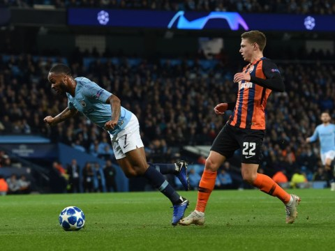 Raheem Sterling wins penalty for Manchester City by tripping over turf