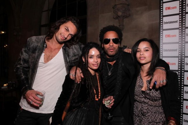 ason Momoa, Lisa Bonet, Lenny Kravitz and Zoe Kravitz at Entertainment Weekly's Party to Celebrate the Best Director Oscar Nominees held at Chateau Marmont