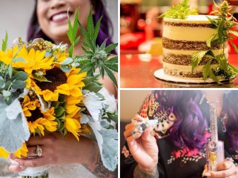Couple have weed-themed wedding with canna-cake, pot bouquets, and a budtender
