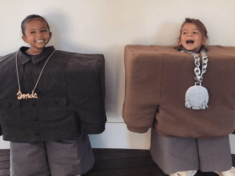 The joke is clearly on the Kardashian kids this Halloween as Kim and Kourtney pick out massive costumes