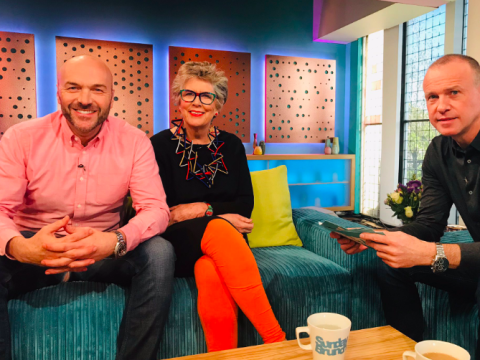 Sunday Brunch fans ROFL as Simon Rimmer wears jeans ripped right at the crotch during Prue Leith interview