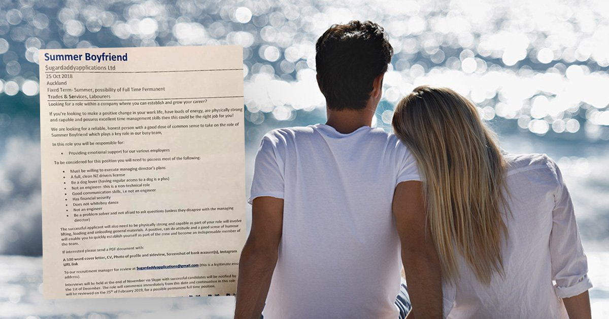Advert asks students to apply for job as someone's 'summer boyfriend'