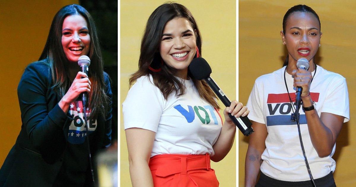 Avengers star Zoe Saldana leads Latinas Stand Up rally with Eva Longoria and Rosario Dawson