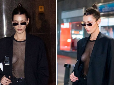 Bella Hadid somehow makes sheer mesh look good as she struts out of Victoria's Secret fitting
