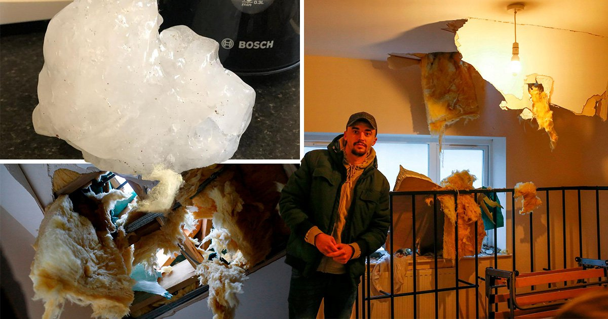 Freak ice boulder 'almost kills' man crashing through roof onto his bed