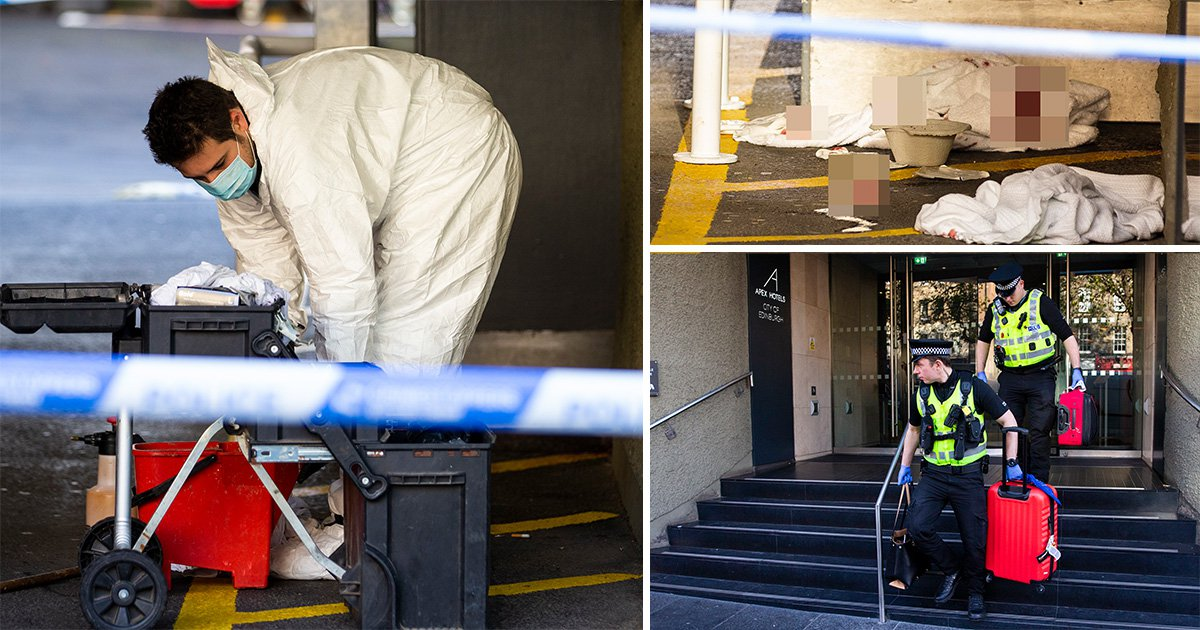 Three people stabbed in random attack near hotel