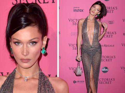 Bella Hadid outdoes the Victoria's Secret runway in completely sheer gown at after-party