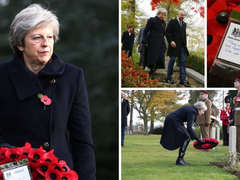 Theresa May visits WWI cemeteries in Belgium and France to pay respect to war dead