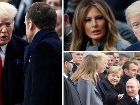 Donald Trump finally attends Armistice centenary service in the rain
