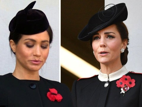 Meghan Markle and Kate Middleton are emotional watching Armistice Day service at Cenotaph