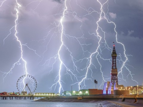 Lightning bolts out at sea near Blackpool win Weather Photography Award