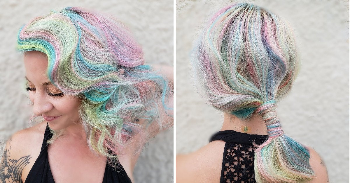 Stylist creates stunning pastel rainbow hair using paint rollers