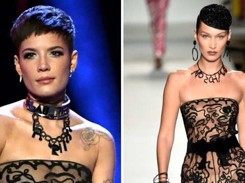 Halsey wears the same sheer catsuit as Bella Hadid, also looks amazing