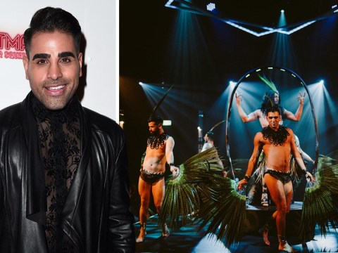 Dr Ranj Singh keeps the Strictly glamour going as he attends 'boylesque' spectacular