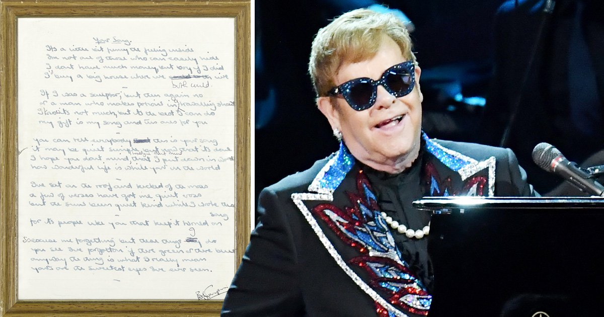 Elton John's Your Song could quite literally be your song as the original handwritten lyrics go up for auction