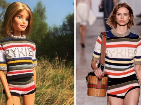 Barbie fan dresses dolls in modern runway replica outfits
