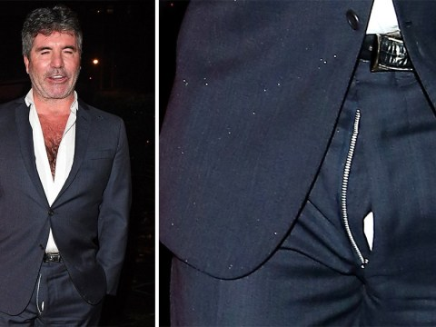 Simon Cowell is caught with his fly down as he forgets to zip up with Lauren Silverman