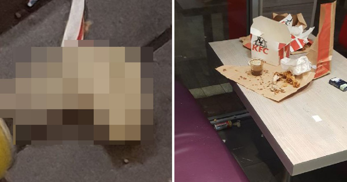 Man disgusted after finding 'used condom' under KFC table