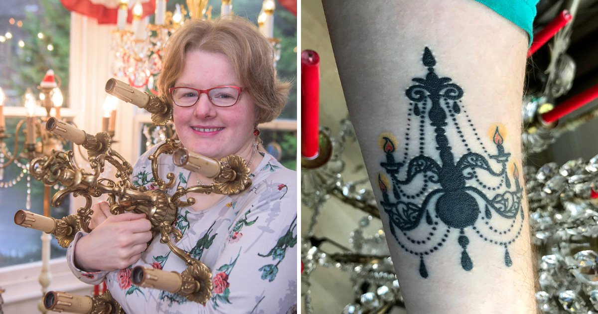 Woman engaged to a chandelier now has a tattoo of the light of her life