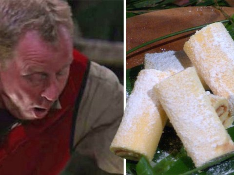 I'm a Celebrity's Harry Redknapp finally gets his jam roly poly and his reaction is pure joy