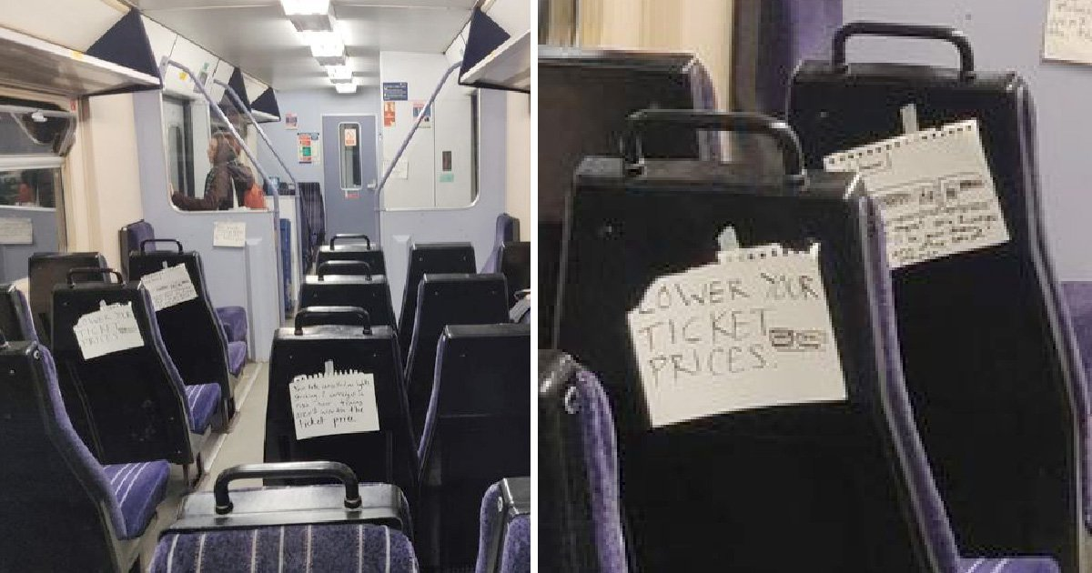 Angry notes appear on back of train seats in protest at rising rail fares