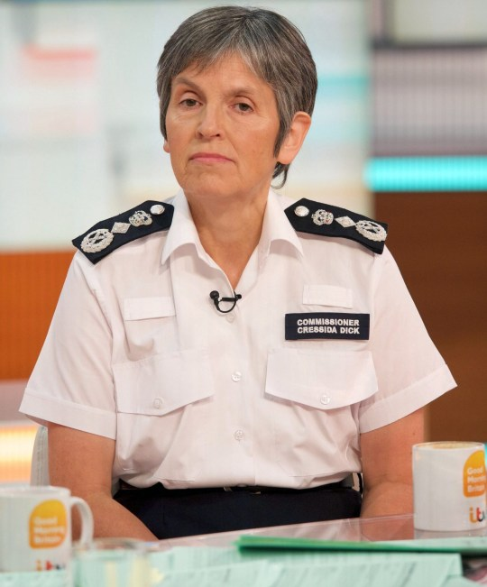 Editorial use only Mandatory Credit: Photo by Ken McKay/ITV/REX/Shutterstock (9827267ap) Cressida Dick 'Good Morning Britain' TV show, London, UK - 30 Aug 2018 BRITAIN'S TOP COP As a judge on the panel of Pride of Britain Cressida Dick will be live in the studio for a last push for nomination before the closing date of 31st August and what its like to be a judge for the awards.
