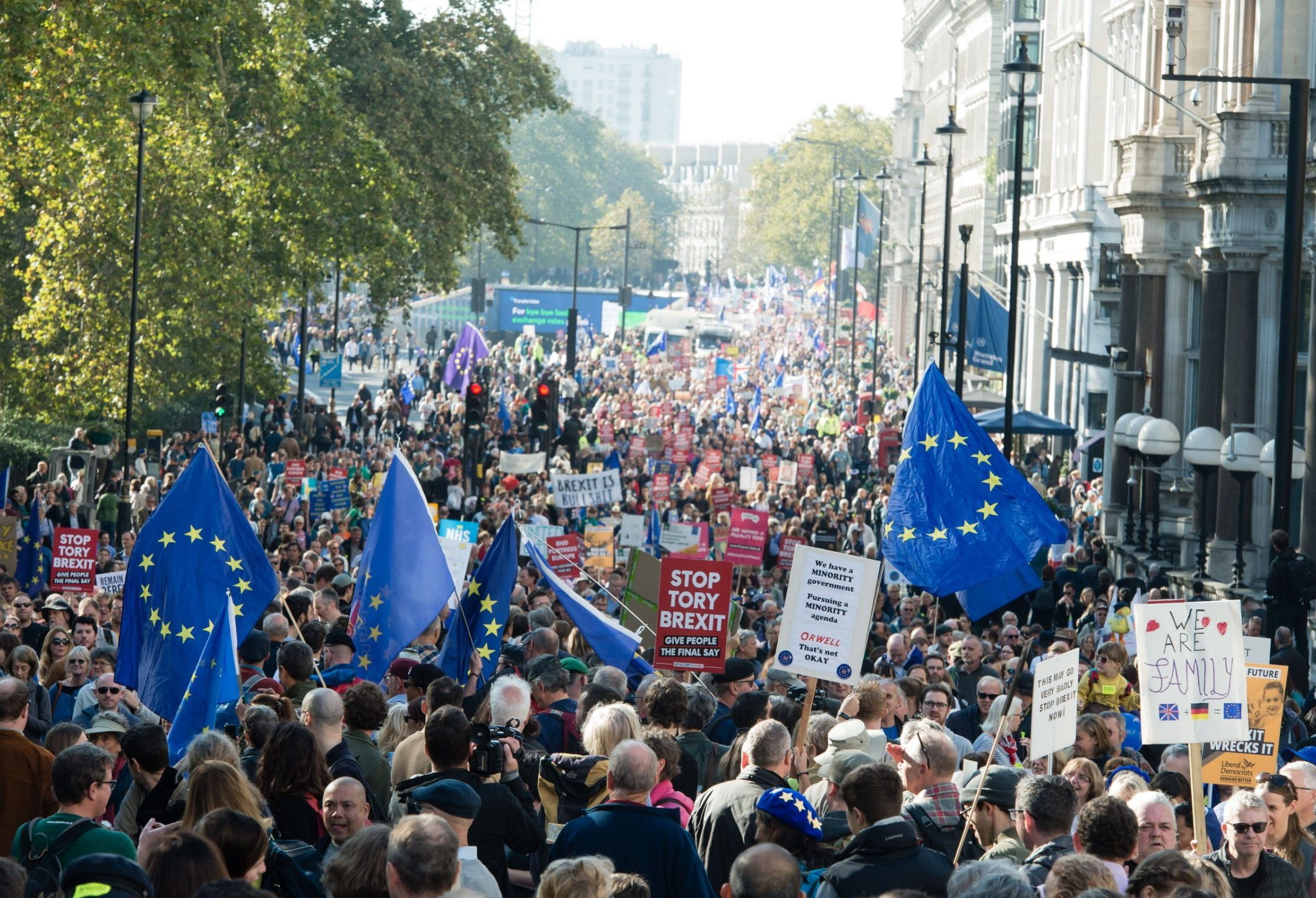 Mandatory Credit: Photo by Richard Isaac/REX (9938833bv) Around 100,000 demonstrators march through London during a People's Vote anti-brexit demonstration waving EU flags, banners and placards Anti-Brexit People's Vote March for the Future in London, UK - 20 Oct 2018