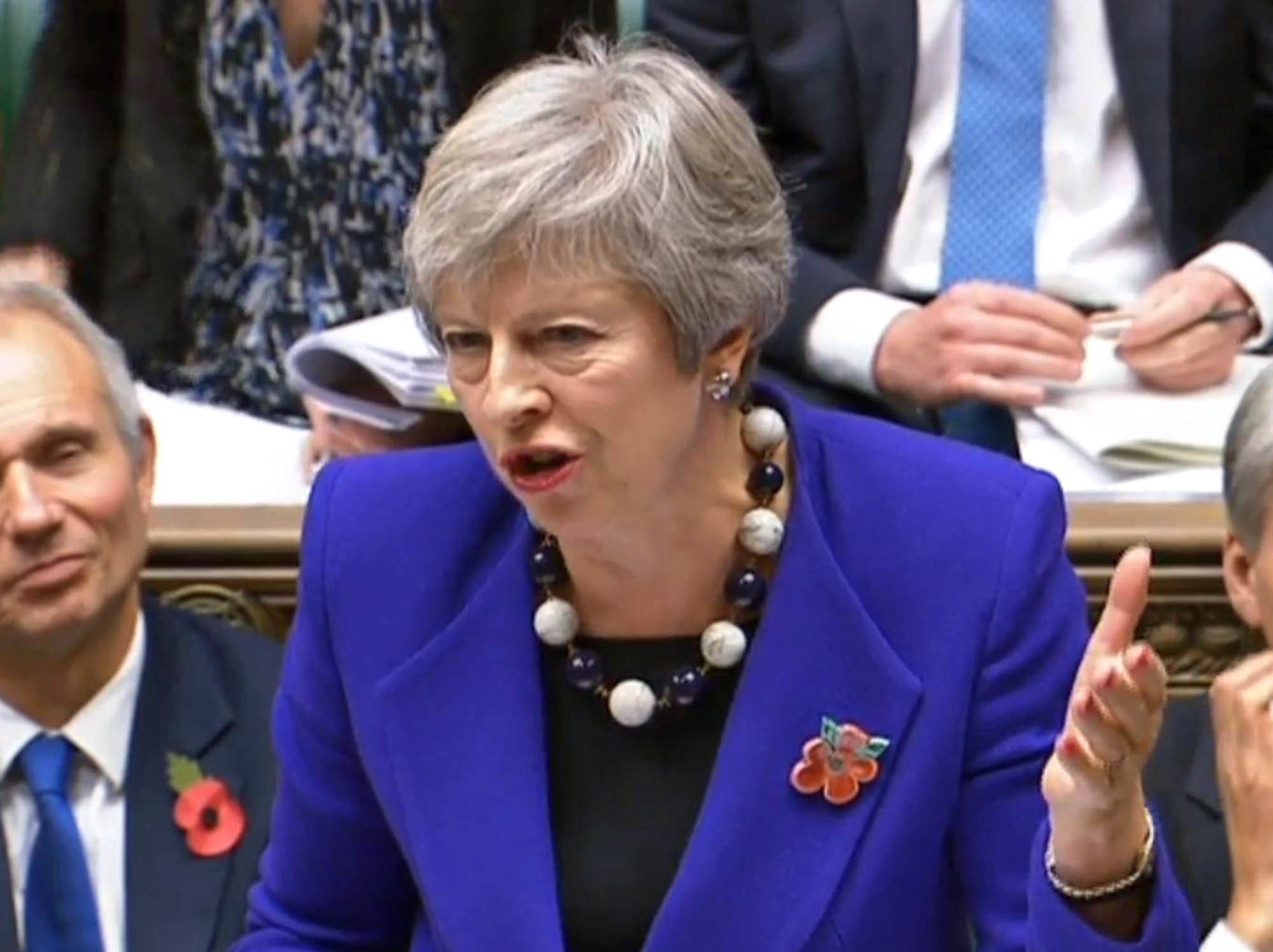 Prime Minister Theresa May speaks during Prime Minister's Questions in the House of Commons, London. PRESS ASSOCIATION Photo. Picture date: Wednesday October 31, 2018. See PA story POLITICS PMQs May. Photo credit should read: PA Wire