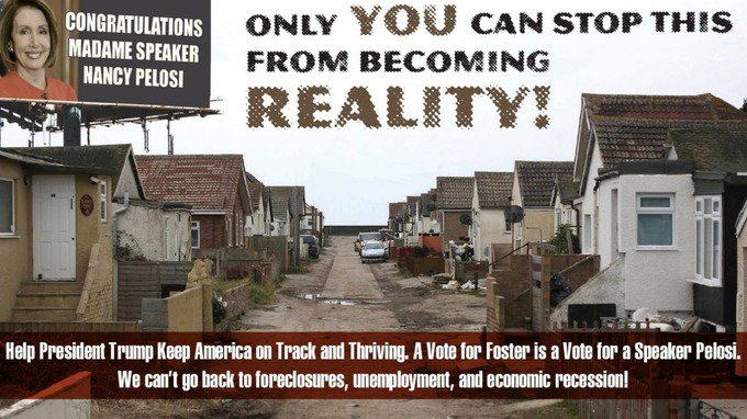 A US politician picked a picture of Jaywick Sands in Essex as a perfect example of an American community in decline. A Republican congressional candidate has used the photo of Jaywick - featuring neglected houses and an unpaved, pot-holed road - to warn voters how their streets could end up if they don't vote for him. It also shows a mocked-up billboard featuring Democrat Nancy Pelosi, the Minority Leader of the House of Representatives, beside the words: 'Only YOU can stop this from becoming reality!' Admittedly Jaywick was the most deprived English neighbourhood between 2010 and 2015, according to Whitehall figures. But the election advert on Dr Nick Stella's Facebook page has infuriated locals
