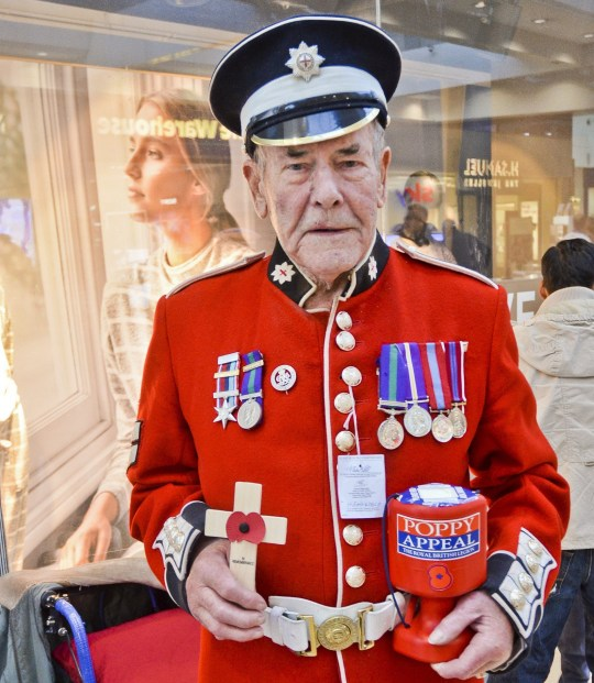 INS News Agency Ltd. 01/11/2018 Old soldier Maurice Bastable, aged 84 years, was robbed as he sold poppies at a supermarket in Basingstoke, Hants. The former Coldstream Guard was wearing his colourful old uniform when two men and a woman stole his collecting tin and fled. See copy INScold