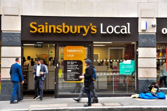 A Sainsbury's Local store is pictured in London on May 1, 2018. Sainsburys is on track to become Britains biggest supermarket after agreeing a deal with Asdas owner, Walmart. Under the deal, Walmart will own 42% of the combined company, which will control around a third of supermarket revenues. The two companies have agreed that prices could fall by up to 10% on some popular items if the deal is approved. (Photo by Alberto Pezzali/NurPhoto via Getty Images)