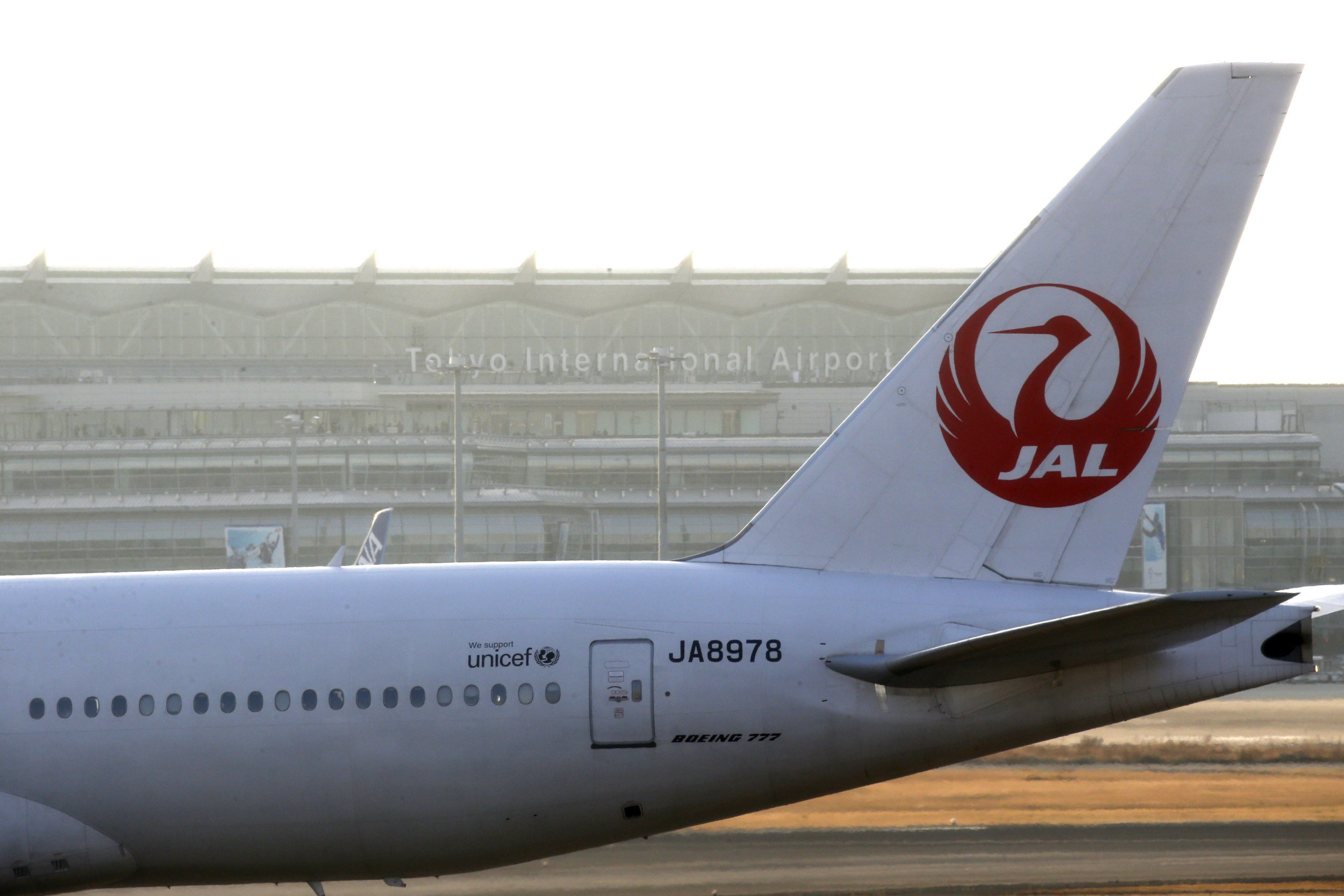 JAL's airplane is seen at Haneda Airport in Tokyo, Japan Feburuary 9, 2018. (Photo by Hitoshi Yamada/NurPhoto via Getty Images)