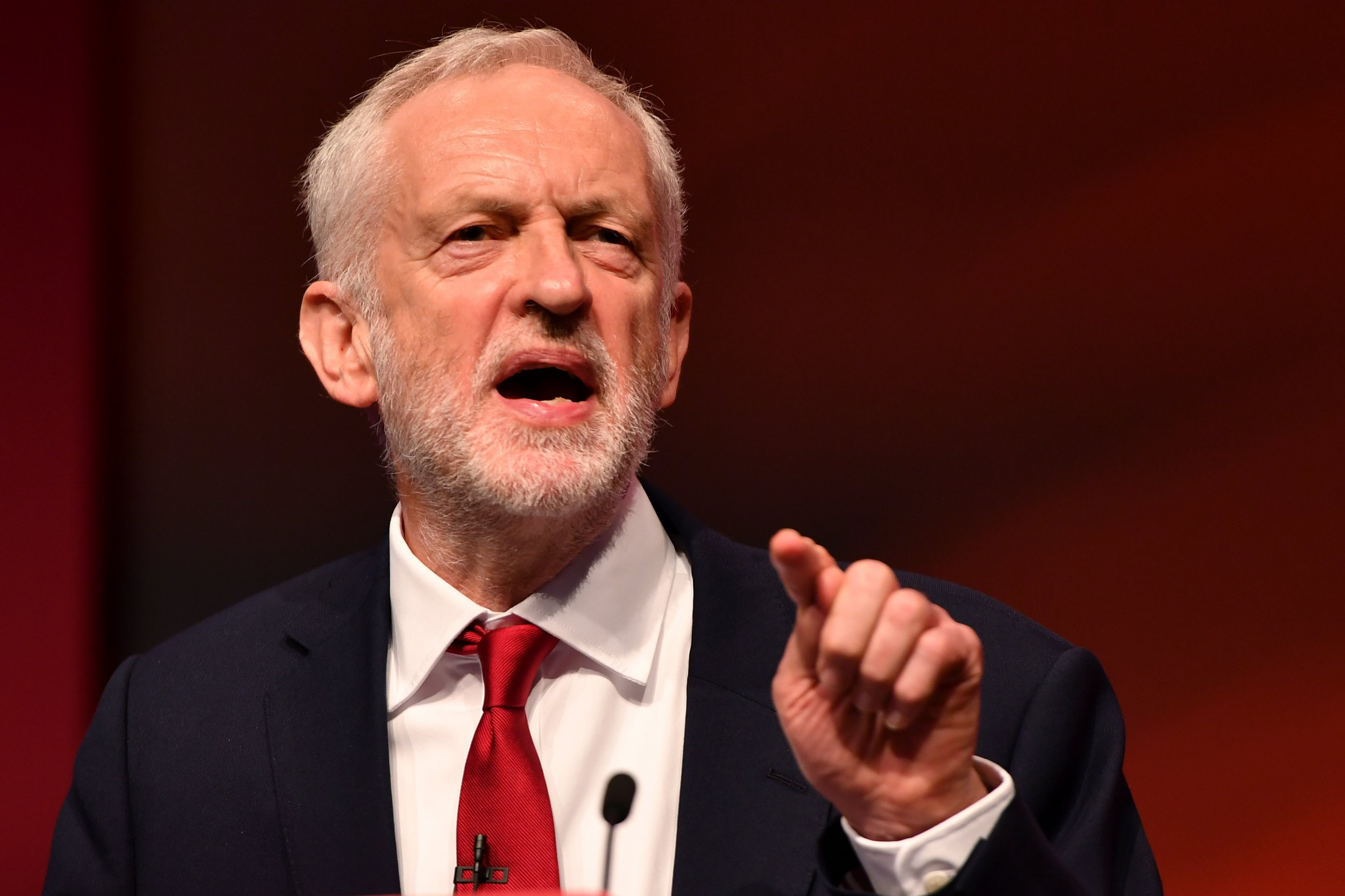 LIVERPOOL, ENGLAND - SEPTEMBER 26: Labour Party leader Jeremy Corbyn delivers the keynote speech during the Labour Party annual conference on September 26, 2018 in Liverpool, England. The four-day annual Labour Party Conference takes place at the Arena and Convention Centre in Liverpool and is expected to attract thousands of delegates and features keynote speeches from party politicians and over 450 fringe events (Photo by Anthony Devlin/Getty Images)