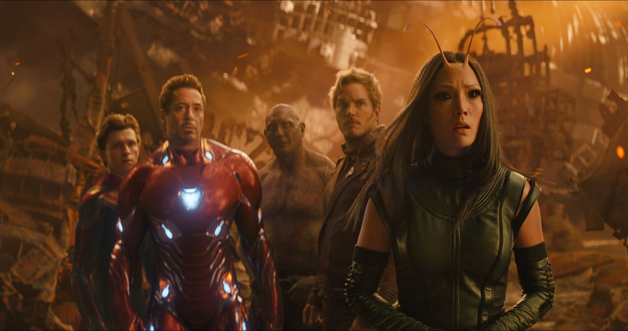 L to R: Spider-Man/Peter Parker (Tom Holland), Iron Man/Tony Stark (Robert Downey Jr.), Drax (Dave Bautista), Star-Lord/Peter Quill (Chris Pratt) and Mantis (Pom Klementieff)