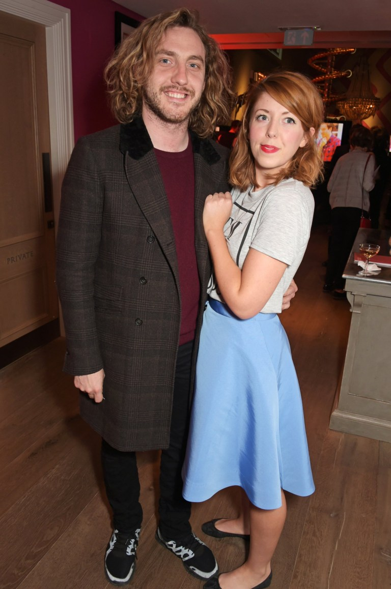 "LONDON, ENGLAND - MAY 07: Seann Walsh (L) and Rebecca Humphries attend a special screening of The Donmar Warehouse production of ""The Vote"" at the Ham Yard Hotel, generously supported by Chapel Down, on May 7, 2015 in London, England. (Photo by David M. Benett/Getty Images for Donmar Warehouse)"