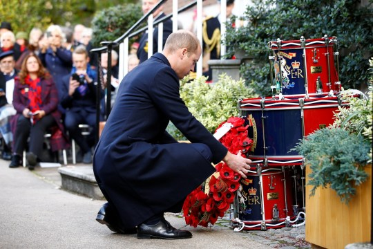 The Duke of Cambridge lays a wreath during the Submariners? Remembrance Service and Parade, at Middle Temple, London. PRESS ASSOCIATION Photo. Picture date: Sunday November 4, 2018. See PA story ROYAL Cambridge. Photo credit should read: Henry Nicholls/PA Wire