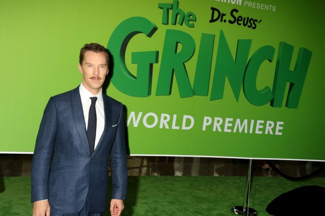 Benedict Cumberbatch is joined by guests at the New York premiere of Dr. Seuss' The Grinch held at Alice Tully Hall at Lincoln Center. Pictured: Ref: SPL5039175 031118 NON-EXCLUSIVE Picture by: SplashNews.com Splash News and Pictures Los Angeles: 310-821-2666 New York: 212-619-2666 London: 0207 644 7656 Milan: 02 4399 8577 photodesk@splashnews.com World Rights, No Argentina Rights, No Belgium Rights, No China Rights, No Czechia Rights, No Finland Rights, No Hungary Rights, No Japan Rights, No Mexico Rights, No Netherlands Rights, No Norway Rights, No Peru Rights, No Portugal Rights, No Slovenia Rights, No Sweden Rights, No Switzerland Rights, No Taiwan Rights