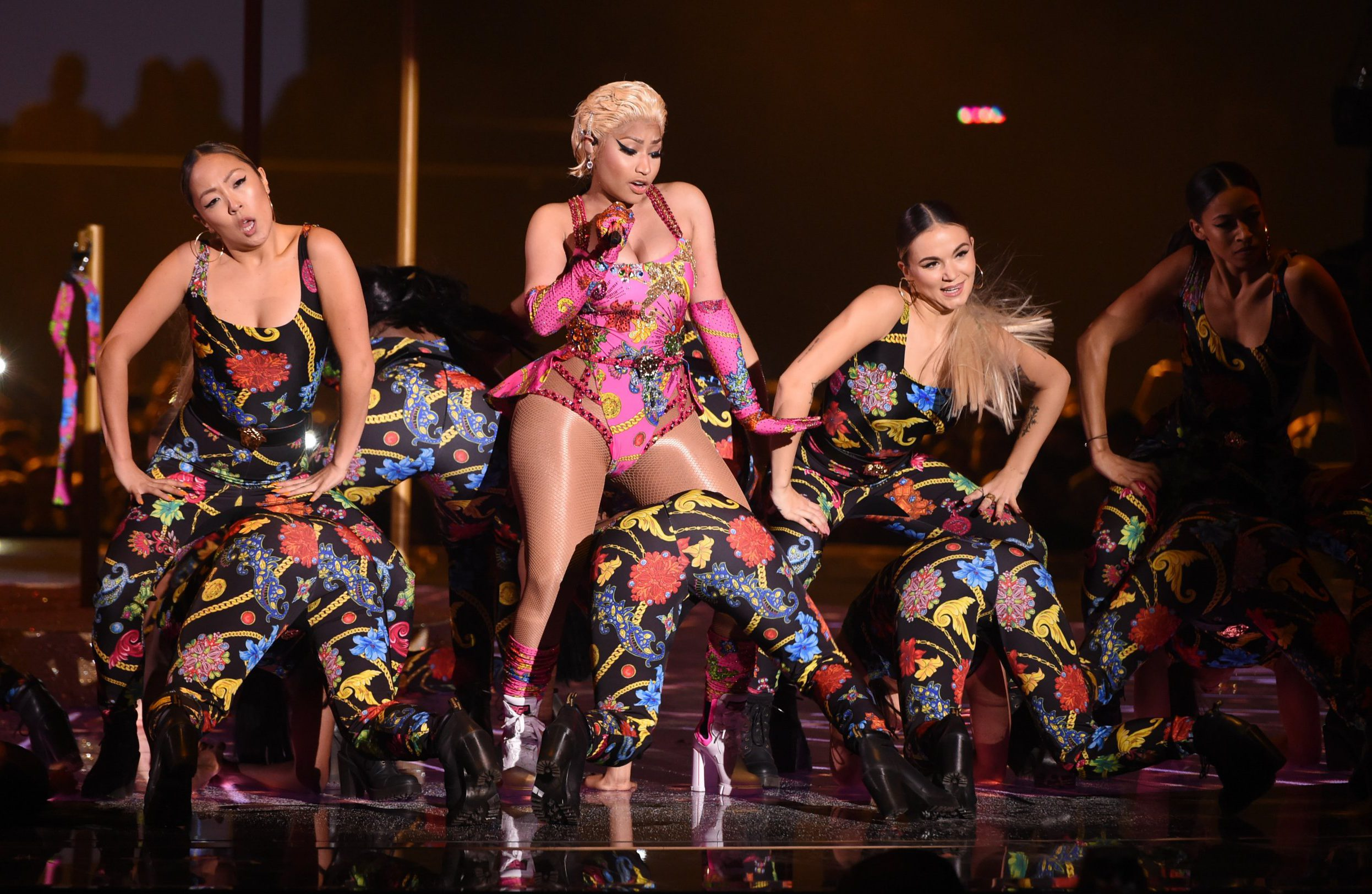 BILBAO, SPAIN - NOVEMBER 04: Nicki Minaj performs on stage during the MTV EMAs 2018 at Bilbao Exhibition Centre on November 4, 2018 in Bilbao, Spain. (Photo by Stuart C. Wilson/Getty Images for MTV)