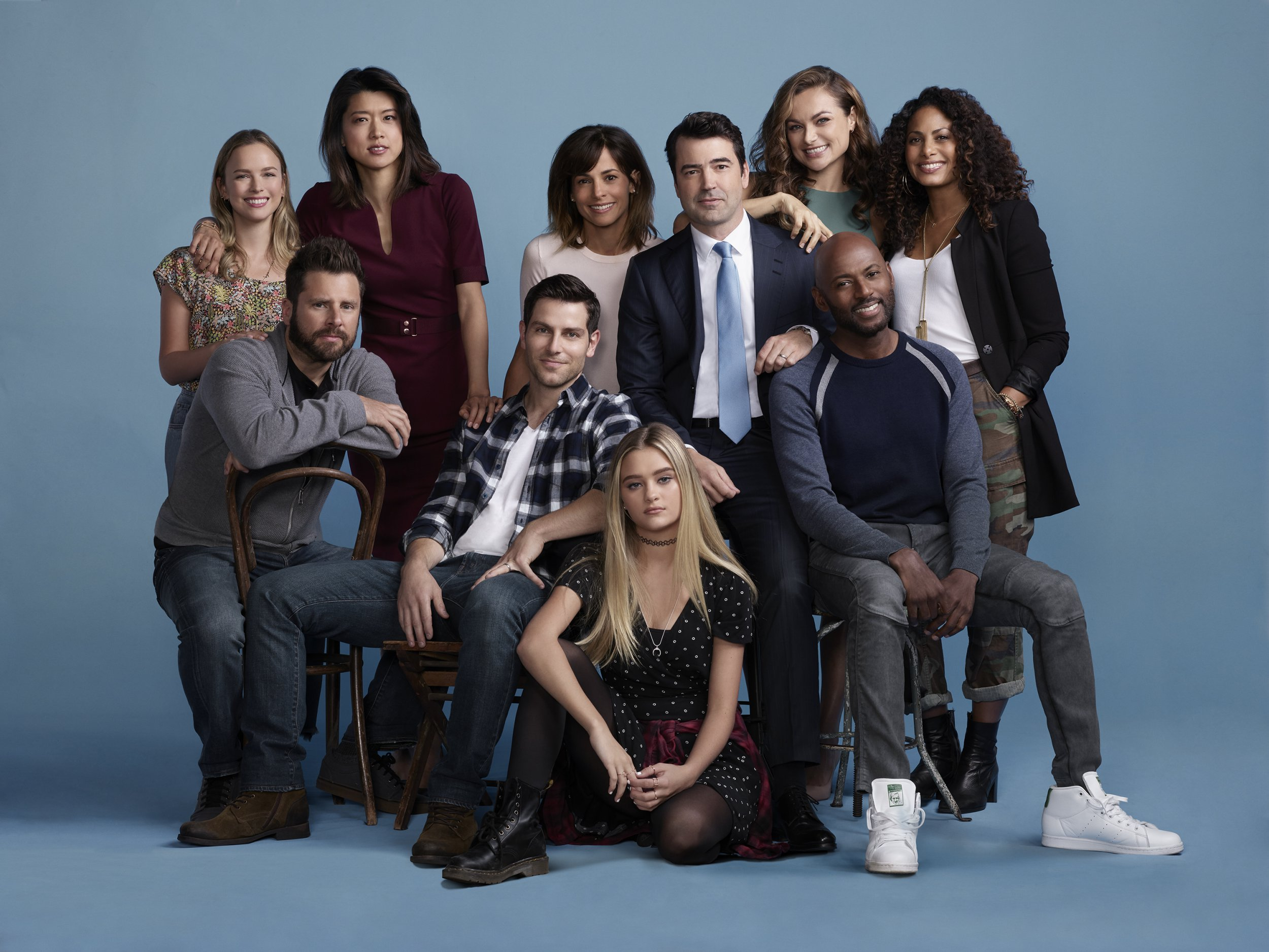 "A MILLION LITTLE THINGS - ABC's ""A Million Little Things"" stars Allison Miller as Maggie, James Roday as Gary, Grace Park as Katherine, David Giuntoli as Eddie, Stephanie Szostak as Delilah, Ron Livingston as Jon, Christina Ochoa ashley, Romany Malco as Rome, and Christina Moses as Regina. (Matthias Clamer via Getty Images)"