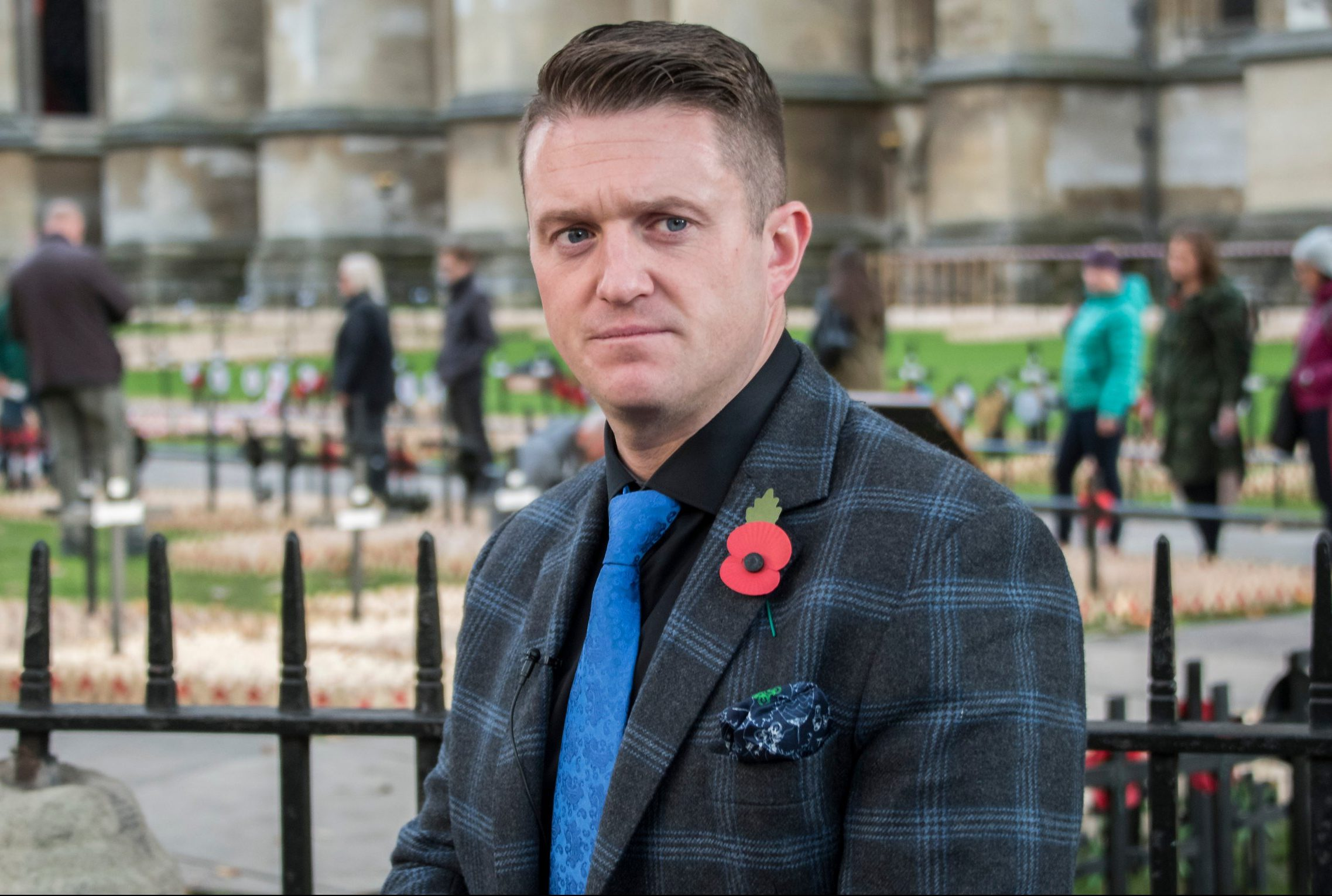 Mandatory Credit: Photo by Guy Bell/REX (9968761aj) Tommy Robinson makes a video outside while preperations for the Royal British Legion, Field of Remembrance at Westminster Abbey take place. Field of Remembrance preparations, London, UK - 06 Nov 2018