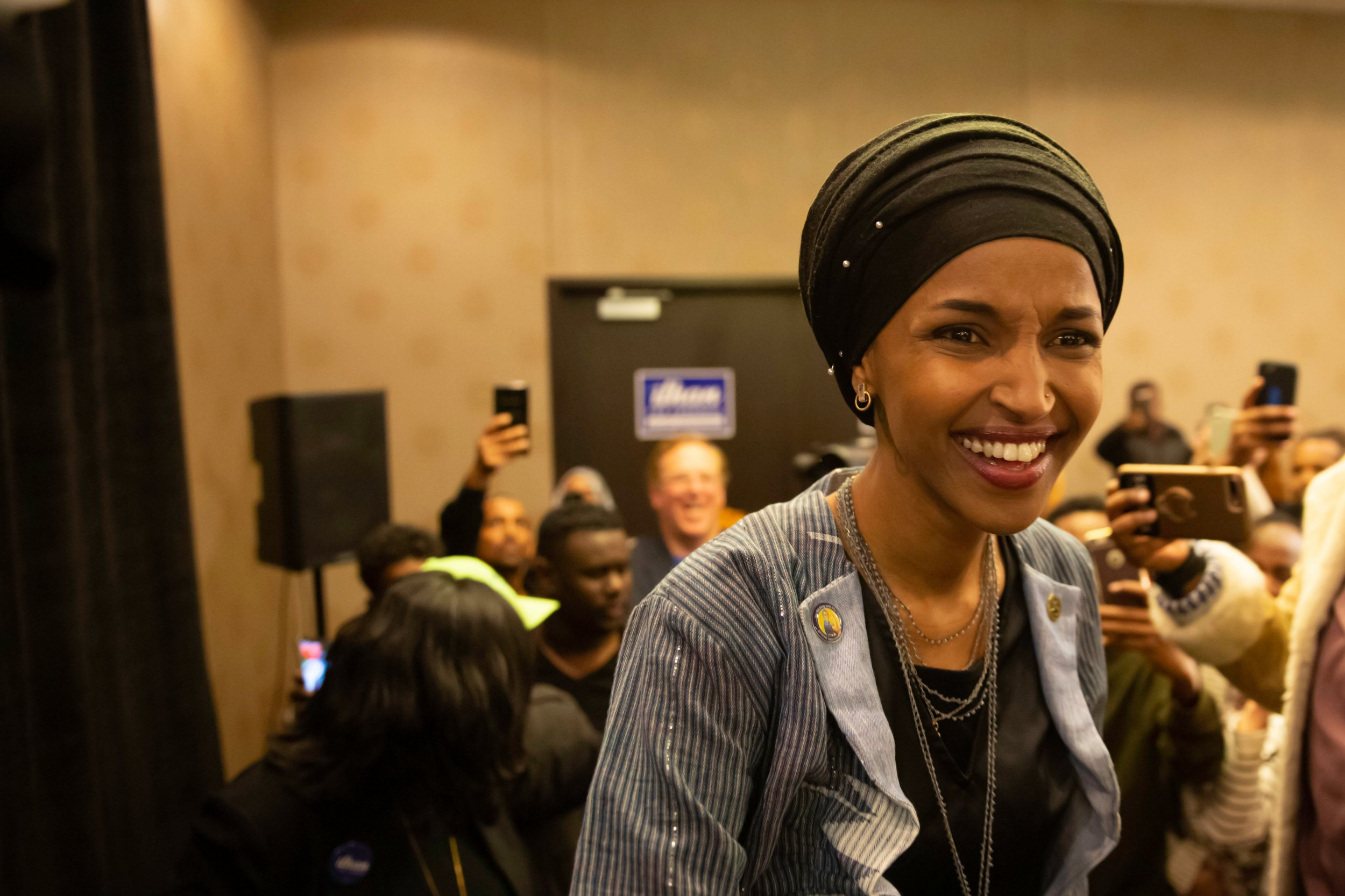 Ilhan Omar, newly elected to the U.S. House of Representatives on the Democratic ticket,??arrives for her victory party on election night in Minneapolis, Minnesota on November 6, 2018. - US voters elected two Muslim women, both Democrats, to Congress on November 6, 2018, marking a historic first in a country where anti-Muslim rhetoric has been on the rise, American networks reported. Ilhan Omar, a Somali refugee, won a House seat in a heavily-Democratic district in the Midwestern state of Minnesota, where she will succeed Keith Ellison, himself the first Muslim elected to Congress. (Photo by Kerem Yucel / AFP)KEREM YUCEL/AFP/Getty Images
