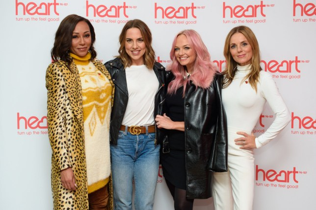 CAPTION CORRECTION CORRECTING LEFT TO RIGHT Spice Girls (left to right) Melanie Brown, Melanie Chisholm, Emma Bunton and Geri Horner at a live appearance this morning on the Heart Breakfast show with host Jamie Theakston at Global Radio in Leicester Square, London. PRESS ASSOCIATION Photo. Picture date: Wednesday November 7, 2018. See PA story SHOWBIZ Spice. Photo credit should read: Matt Crossick/PA Wire