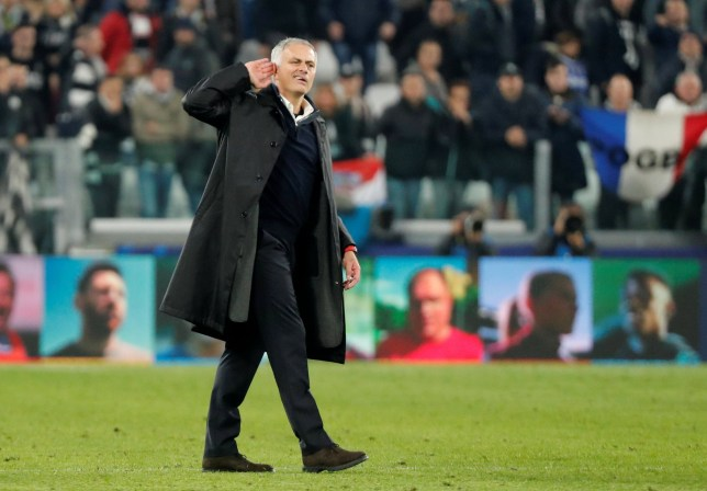 Soccer Football - Champions League - Group Stage - Group H - Juventus v Manchester United - Allianz Stadium, Turin, Italy - November 7, 2018 Manchester United manager Jose Mourinho gestures to Juventus fans after the match REUTERS/Stefano Rellandini